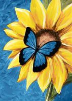 "Wizardi Diamond painting ""Butterfly and Sunflower"" - 27 x 38 cm"