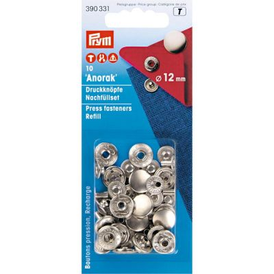 "Press fasteners ""Anorak"" for anorak, 12 mm, 10 pcs. - silver /Prym/ refill pack ― Latvian Crafts"