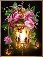 "Diamond painting ""Lantern And Dogrose"" - 30 x 40cm"