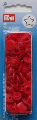 Plastic press fasteners - Stars - Red ~12mm, 30 pieces ― Latvian Crafts