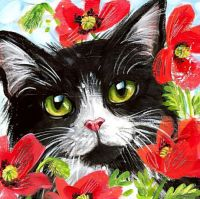 "Wizardi Diamond painting ""Cat in Flowers"" - 20 x 20 cm"