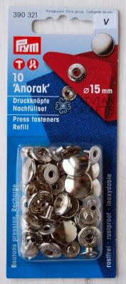 "Press fasteners ""Anorak"" for anorak, 15 mm, 10 pcs. - silver refill pack ― Latvian Crafts"