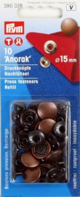 "Press fasteners ""Anorak"" for anorak, 15 mm, 10 pcs. - old copper refill pack ― Latvian Crafts"