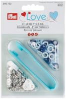 "Press fasteners ""Jersey"" blue/light blue/white/ 8mm, 21 pieces/ Prym Love"