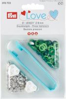 "Press fasteners ""Jersey"" pale green/green/dark green/ 8mm, 21 pieces/ Prym Love"