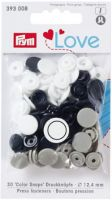 Plastic press fasteners - Circle - navy blue/grey/white - Ø12.4 mm - 30 pieces /Prym Love