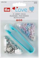 "Press fasteners ""Jersey"" rose/light blue/pear/ 8mm, 21 pieces/ Prym Love"