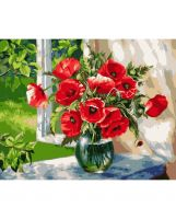 "Painting set with numbers/ Wizardi/ ""Poppies on the Windowsill"" 40 х 50 cm"