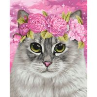"Painting set with numbers/ Wizardi/ ""Cat and Peonies"" 40 х 50 cm"