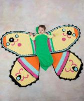 Chrochet Butterfly Baby Blanket & Cocoon /Red Heart Baby