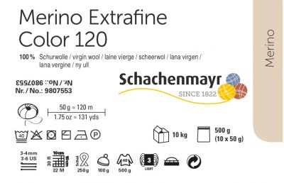 Merino Extrafine Color 120 /Schachenmayr/ 50g- полная карта цветов ― Latvian Crafts