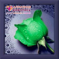 "Diamond painting ""Green Rose"" - 22 x 24cm"