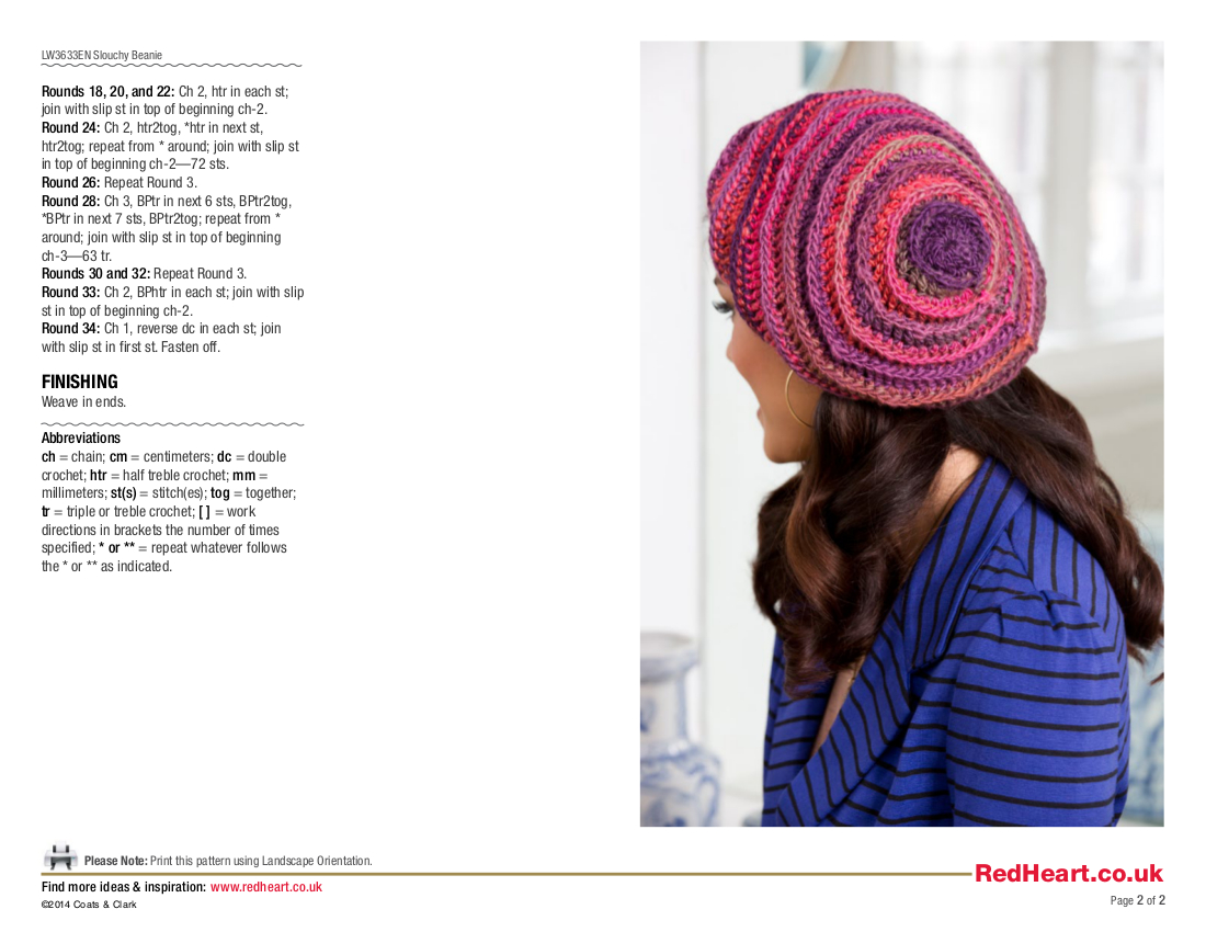 Slouchy Beanie Crochet Pattern - Unforgettable /Red Heart