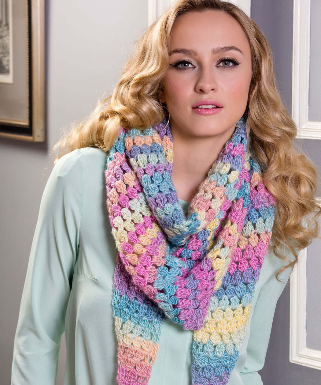 Cluster Stitch Wrap Crochet Pattern - Unforgettable /Red Heart ...